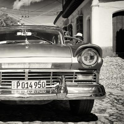 Cuba Fuerte Collection SQ BW- Close-up of American Classic Car II
