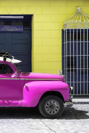 Cuba Fuerte Collection - Close-up of Deep Pink Vintage Car