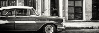 Cuba Fuerte Collection Panoramic BW - Old Classic American Car