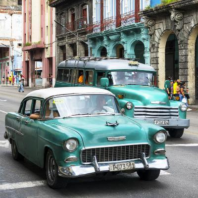 Cuba Fuerte Collection SQ - Green Taxi Cars Havana