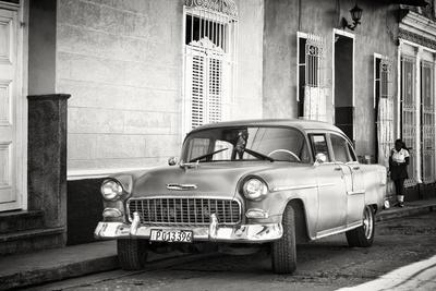 Cuba Fuerte Collection B&W - Chevy Classic Car in Trinidad