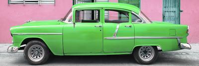 Cuba Fuerte Collection Panoramic - Classic American Green Car in Havana