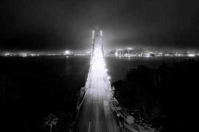 Head On City Bay Bridge Black & White Urban Night Cityscape San Francisco