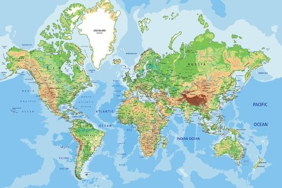 Highly Detailed Physical World Map With Labeling Vector