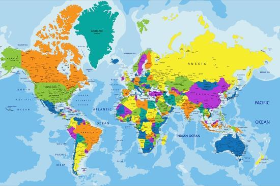 Jordan Political Map Eps Illustrator Map: Colorful World Political Map With Clearly Labeled