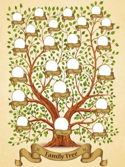 family tree template vintage vector illustration posters by yayasya