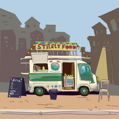 Sketch car street food, city, cartoon, coffee, hot dog, vector illustration