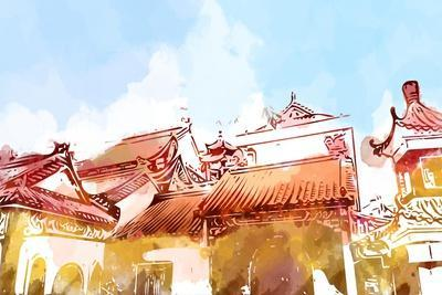 Illustration of Malaysia Chinese Temple. Water Color Graphic Drawing. Idea of Decoration, Post Card