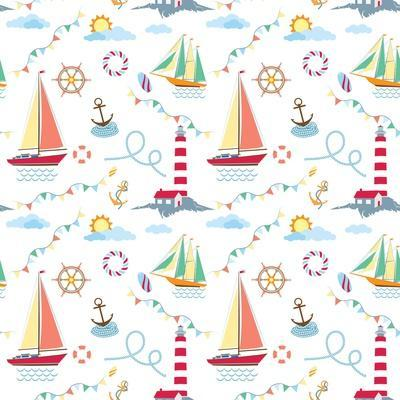 Seamless Marine Pattern with Ships, Lighthouse, Rope, Anchor, Clouds and Sun on Light Background. M