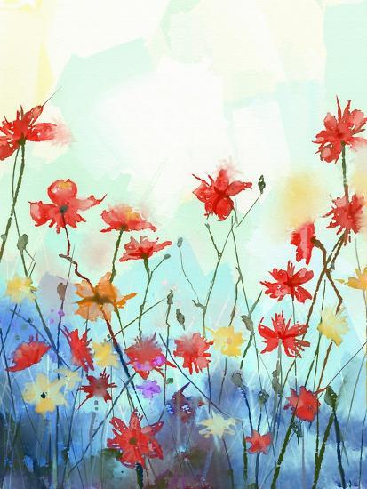 Watercolor Flowers Painting In Soft Color And Blur Style Vintage