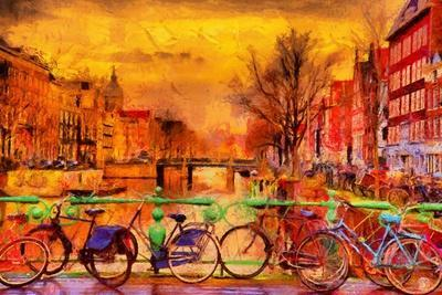 Rain over Amsterdam Canal Impressionist Style Oil Painting