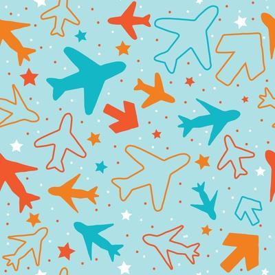 Kids pattern background with color planes, arrows and stars