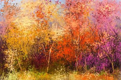 Oil Painting Landscape - Colorful Autumn Trees. Semi Abstract Image of Forest, Trees with Yellow -