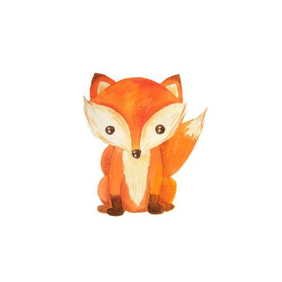 Cute Cartoon Watercolor Forest Animal Hand Painted Lovely Baby Fox