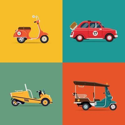 Vector Trendy Flat Design Icons on Small City and Urban Exploring and Visiting Tours Transport Vehi