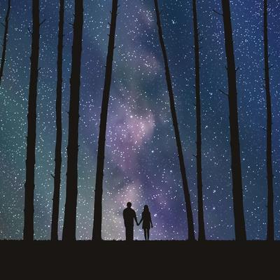 Lovers in Forest. Vector Illustration with Silhouette of Loving Couple under Starry Sky. Can Be Use