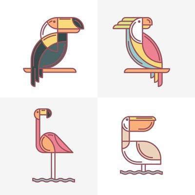 Set of Vector Exotic Tropical Birds Logo Icons. Colorful Line Birds Illustration of Toucan, Cockato