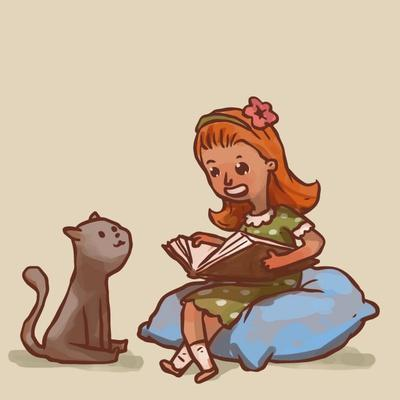 Girl Reads Book to Cat, Vector