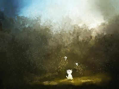 Painting of Kitten Playing with Fairy on Green Grass