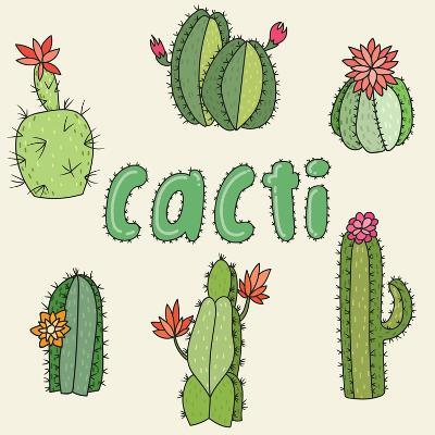 Hand Drawn Cactus Icons. Vector Illustration.