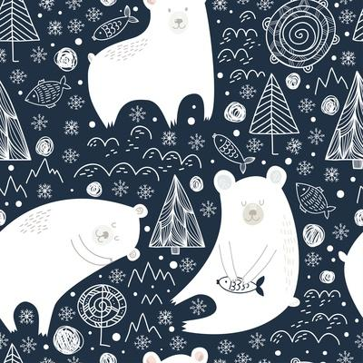 Great Seamless Pattern with Cute Polar Bears, Fishes and Trees at Night in Winter. Can Be Used for