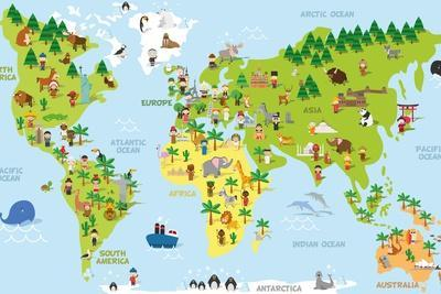 Funny Cartoon World Map with Children of Different Nationalities, Animals and Monuments of All the