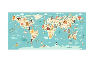 Animals World Map for Children, Kids. Animals Poster. Continent Animals, Sea Life. South America, E