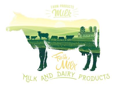 Silhouette of a Cow Combined with the Rural Landscape on a White Background and Inscriptions.