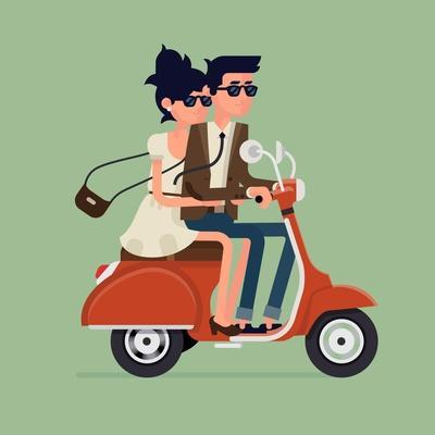 Vector Modern Icon on Hipster Young Man and Woman Couple Characters Riding Fast Retro Scooter Weari