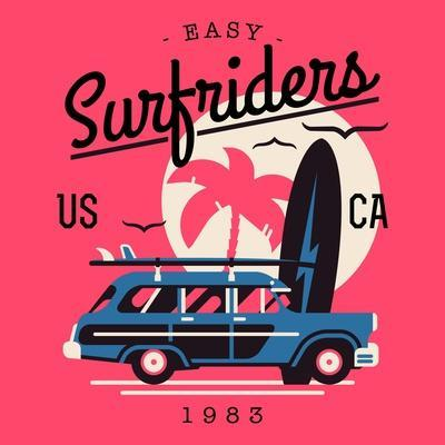 Vector T-Shirt Printable or Wall Art Graphics Design on California Easy Surf Riders with Typography