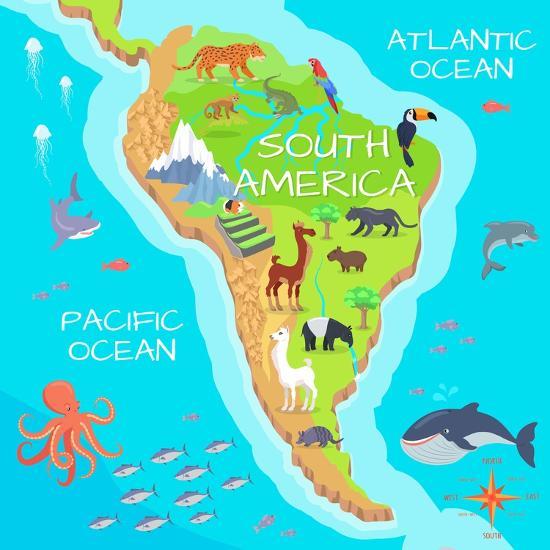 South America Mainland Cartoon Map With Fauna Species