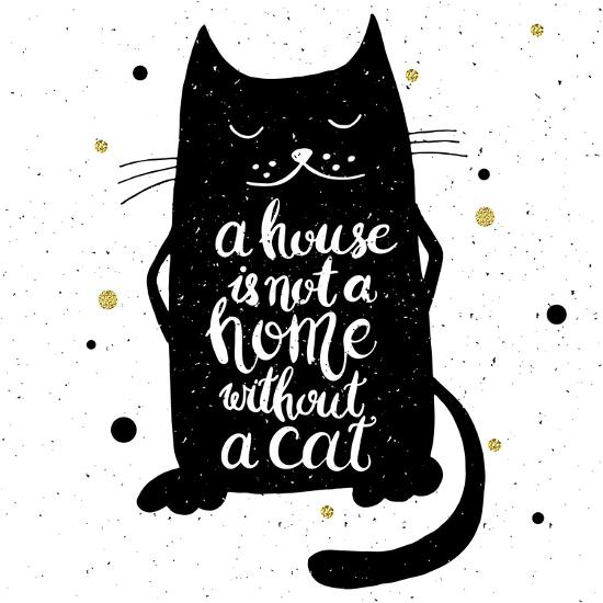 A House Is Not A Home Without A Cat Hand Drawn Inspirational Quote