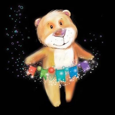 ?Artoon Bear on a Black Background. New Year