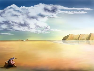 An Original Stylized Illustration of a Surreal Landscape Background