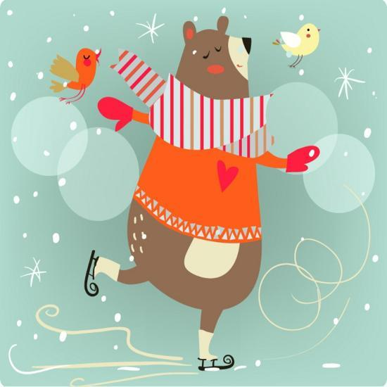 Winter Cartoon Bear Prints By Elena Barenbaum At