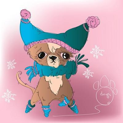 Vector Funny Dressed Pocket Dog - on Pink Background with Snowflake