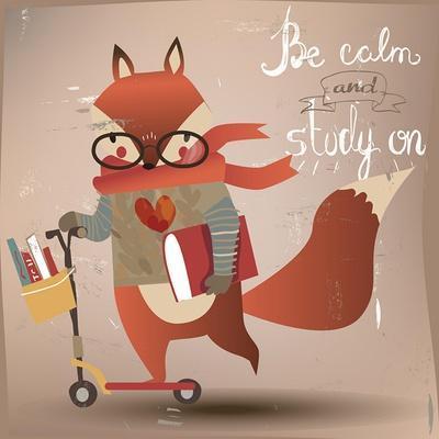 Cartoon Fox with Books
