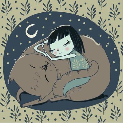 Girl Sleeps with Cat
