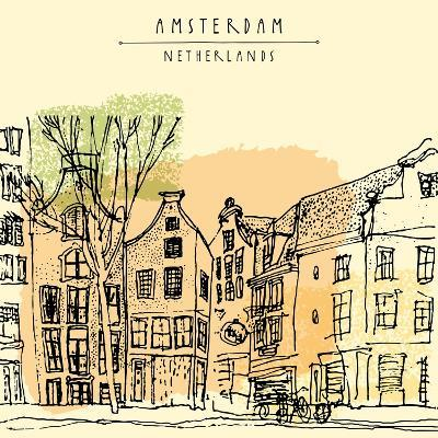 Vector Illustration of Old Houses with Bicycles in Amsterdam, Holland, Netherlands, Europe. Histori