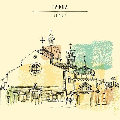 Vector Illustration of Padua Cathedral in Italy. Historical Building Sketchy Line Art. Freehand Dra