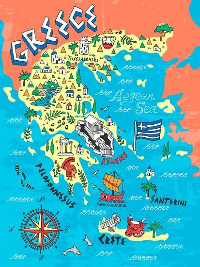 Illustrated Map of Greece. Travels Posters by Daria_I at ...