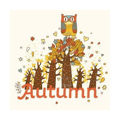 Autumn Childish Card in Vector. Cartoon Forest in Yellow Colors with Cute Owl