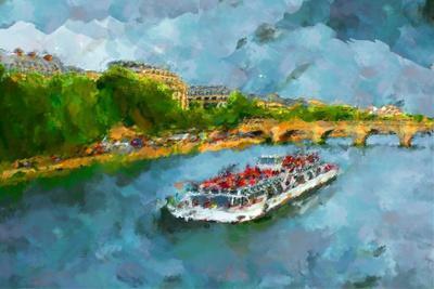 Oil Paint Paris Seine Boat