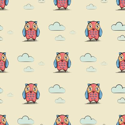 Cute and Funny Owl. Icon. Character Design. Pattern. Wallpaper