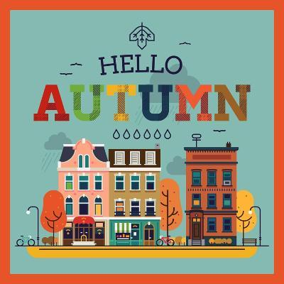 Colorful Vector Hello Autumn Seasonal Background with Autumn City Landscape | Autumn Greeting Card,
