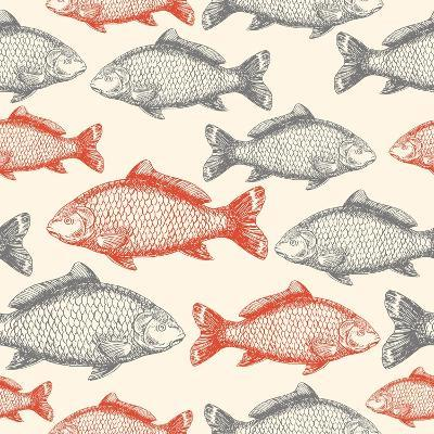 Carp Fish Asian Style Seamless Pattern. Vector Illustration
