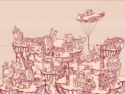 Ancient Steampunk City on the Hills.
