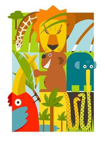 Flat African Animals Symbols Set. Giraffe Lion Elephant Toucan Gazelle Palm. Vector Illustration EP