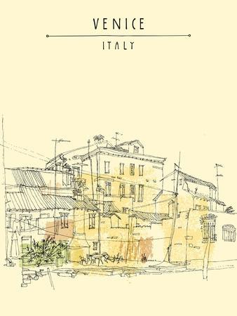 Canal Bank in Venice, Italy. Vertical Vector Vintage Engraved Illustration, Hand Drawn on Paper. Qu