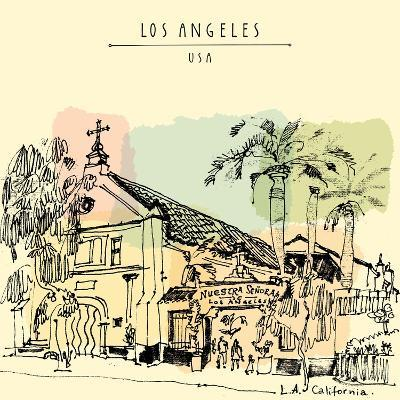 A Church in La, California. Vintage Hand Drawn Postcard or Poster in Vector